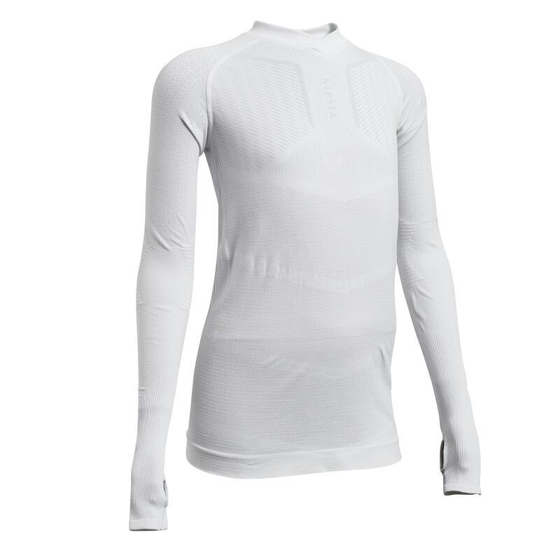 Sous-vêtement haut Keepdry 500 manches longues enfant football blanc