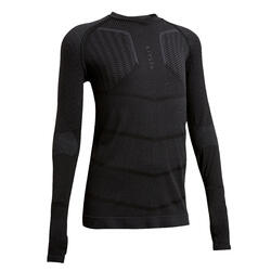 Voetbalondershirt met lange mouwen voor kinderen Keepdry 500 zwart
