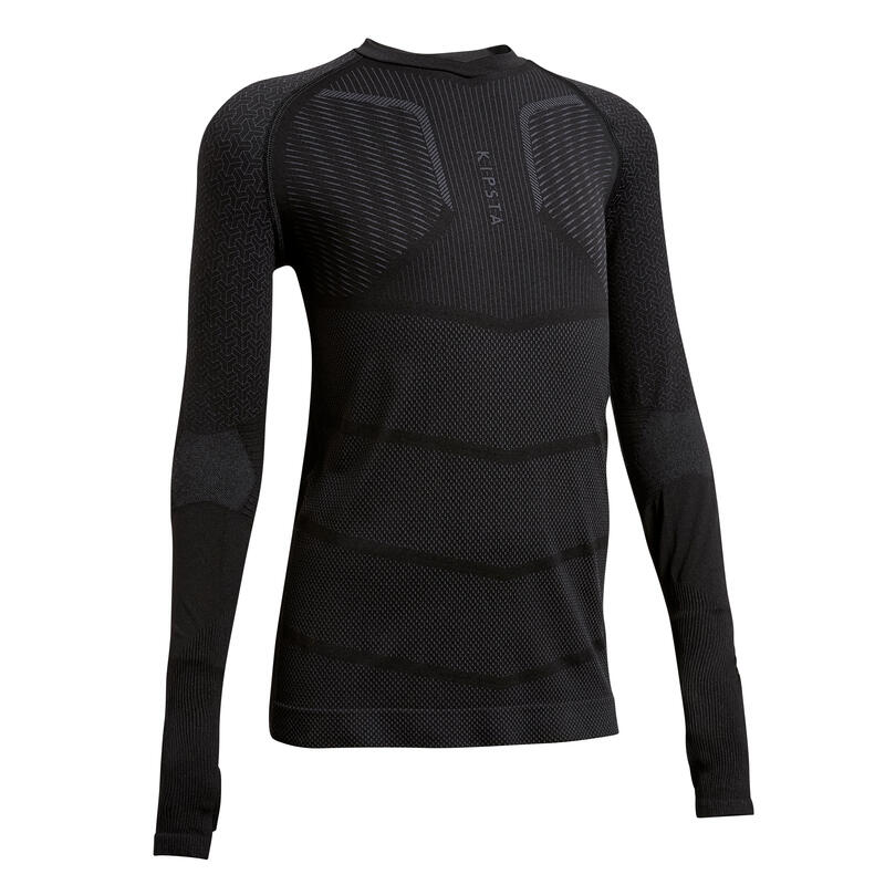 Sous-vêtement haut Keepdry 500 manches longues enfant football noir