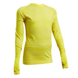 Sous-vêtement haut Keepdry 500 manches longues enfant football jaune