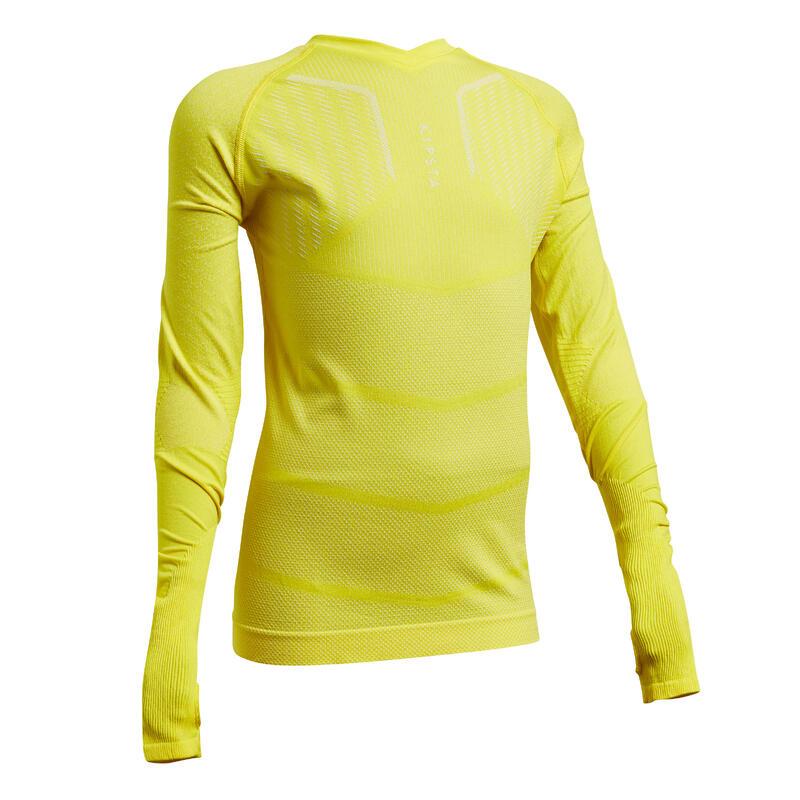 Voetbalondershirt met lange mouwen voor kinderen Keepdry 500 geel