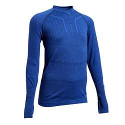 Ondershirt voor voetbal kinderen Keepdry 500 gemêleerd blauw