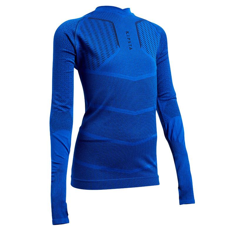 Sous-vêtement haut Keepdry 500 manches longues enfant football bleu indigo