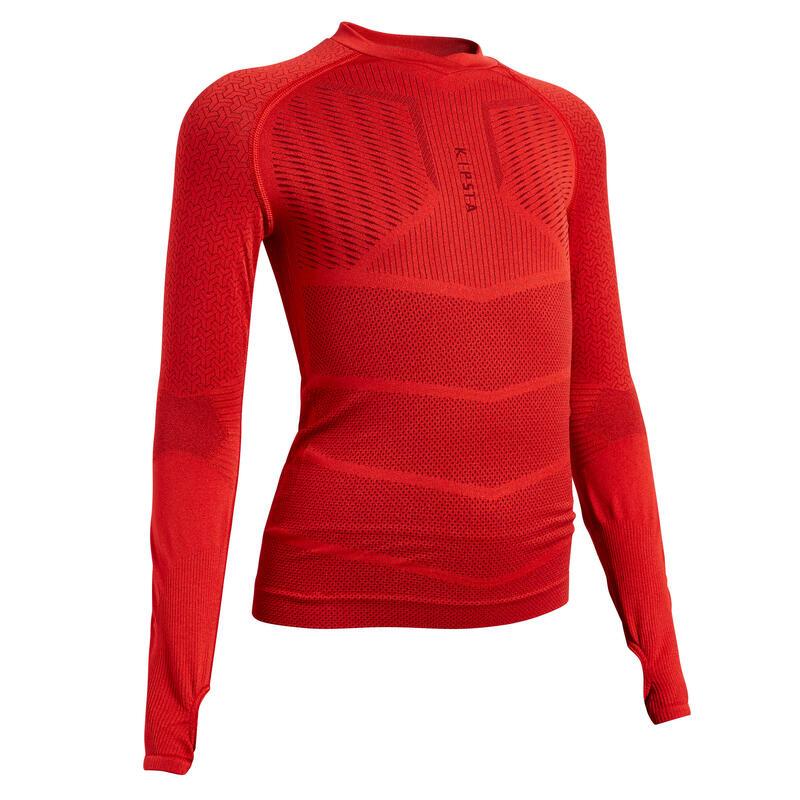 Sous-vêtement haut Keepdry 500 manches longues enfant football rouge
