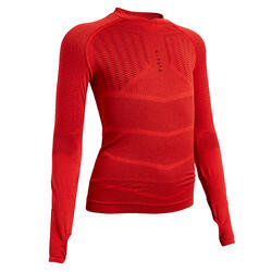Voetbalondershirt met lange mouwen voor kinderen Keepdry 500 rood