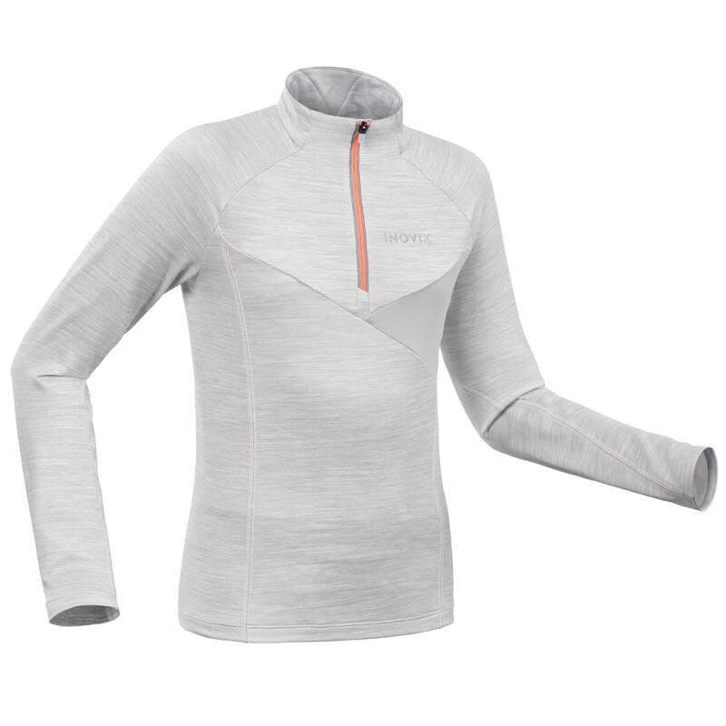 DĚTSKÉ BĚŽECKÉ LYŽE Běžecké lyžování - DĚTSKÉ TRIČKO 100 ŠEDÉ  INOVIK - Oblečení na běžky