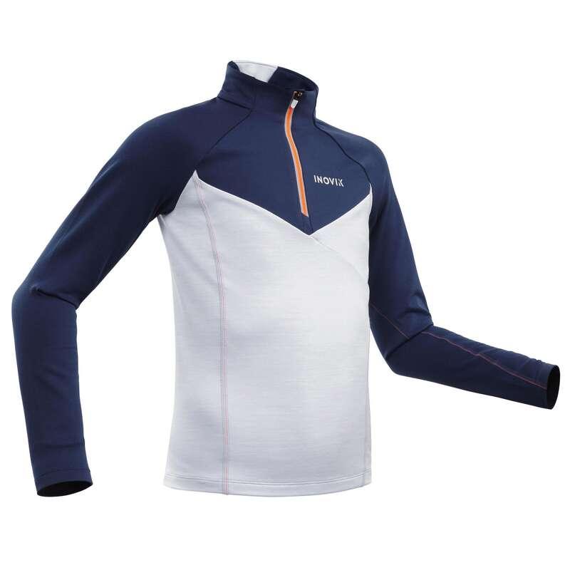 JUNIOR CROSS COUNTRY SKI CLOTHING Cross-Country Skiing - Kid's Warm T-shirt 100 - Blue INOVIK - Cross-Country Skiing