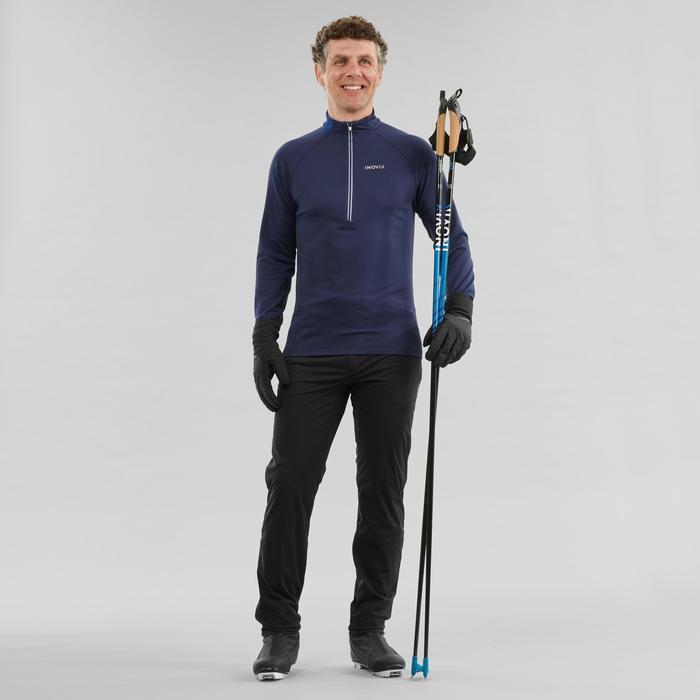 Tee-shirt manches longues chaud XC S TS 100 homme bleu