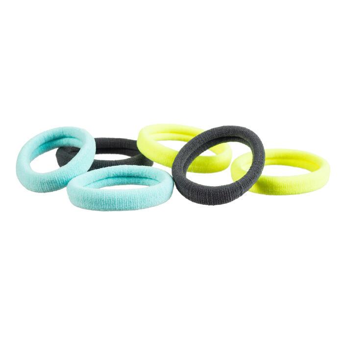 Fitness haarelastiekjes cardiotraining grijs geel blauw