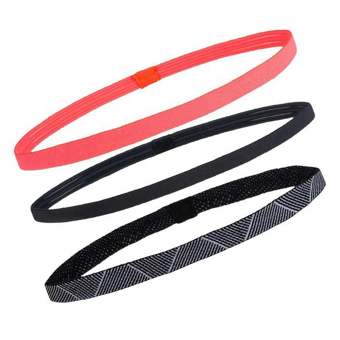 Elastische hoofdbanden x3 fitness cardiotraining roze en zwart