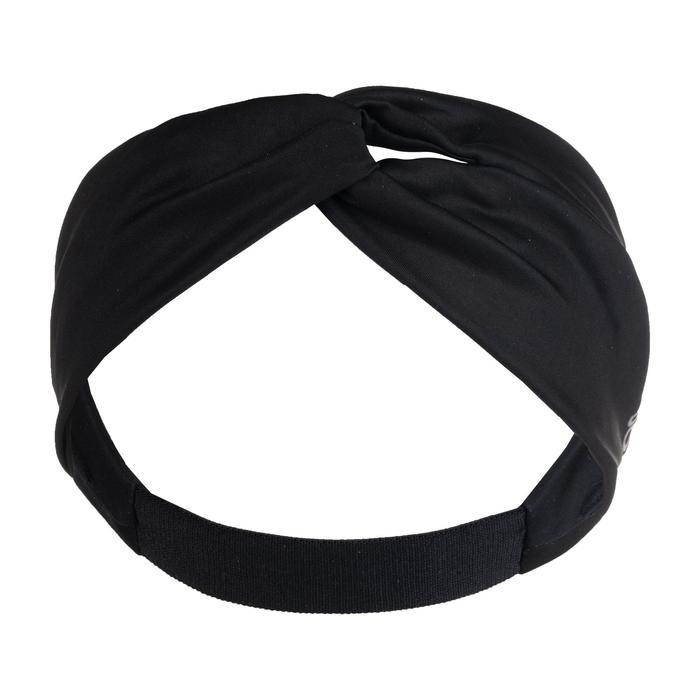 Hoofdband voor cardiofitness dames zwart met elastiek