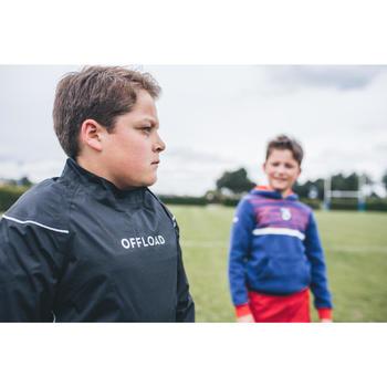 Winddicht regenjack voor rugby Smock top R500 kinderen zwart