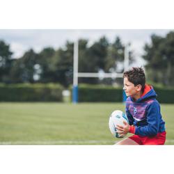 Kapuzen-Hoodie Rugby Frankreich 2019 Kinder blau