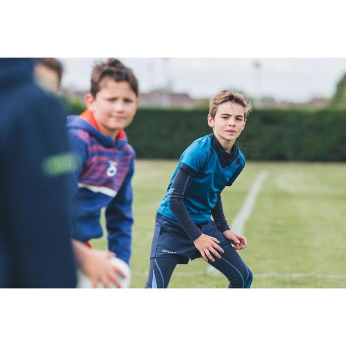 Rugbyshirt voor kinderen R100 blauw