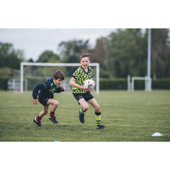 Hoge rugbysokken voor kinderen R500 geel/zwart