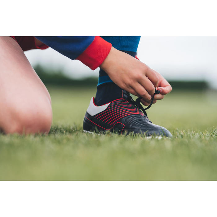 Botas de Rugby Offload Skill R500 FG niños negro y rojo