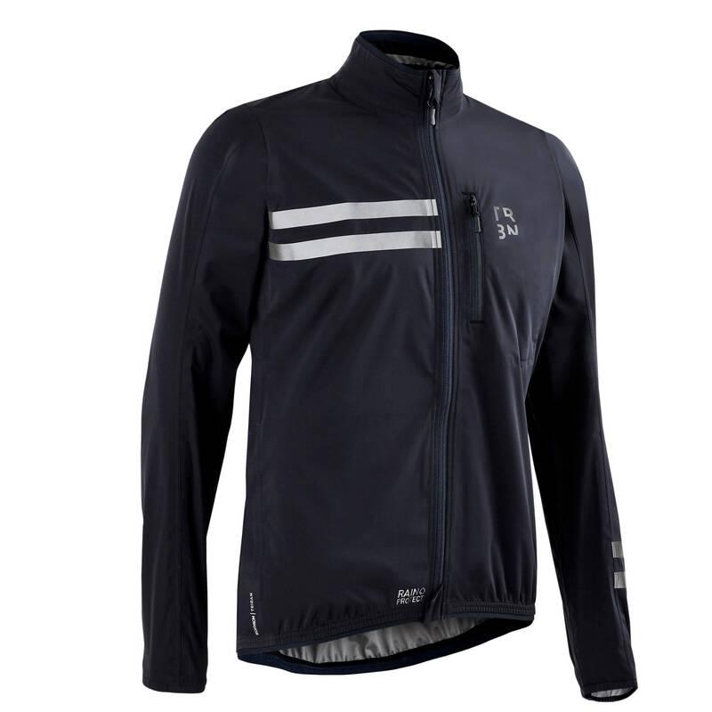 PÁNSKÉ OBLEČENÍ NA SILNIČNÍ CYKLISTIKU DO DEŠTIVÉHO POČASÍ Cyklistika - PLÁŠTĚNKA RC500 ČERNÁ TRIBAN - Cyklistické oblečení