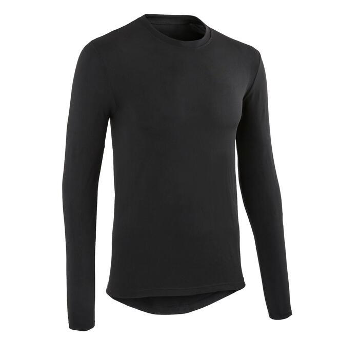 Wielren ondershirt heren met lange mouwen Essential 100 zwart