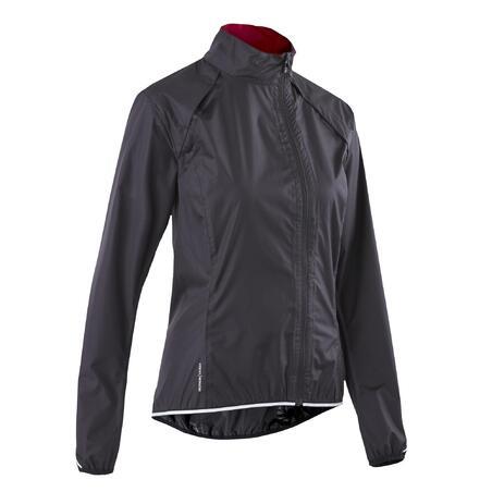 500 Waterproof Cycling Jacket Black - Women