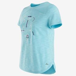 Gym T-shirt met korte mouwen meisjes 500 ademend katoen blauw/print