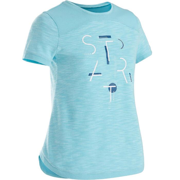 T-Shirt manches courtes coton respirant 500 fille GYM ENFANT bleu imprimé