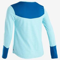 Gym T-shirt met lange mouwen meisjes 500 ademend katoen blauw met print