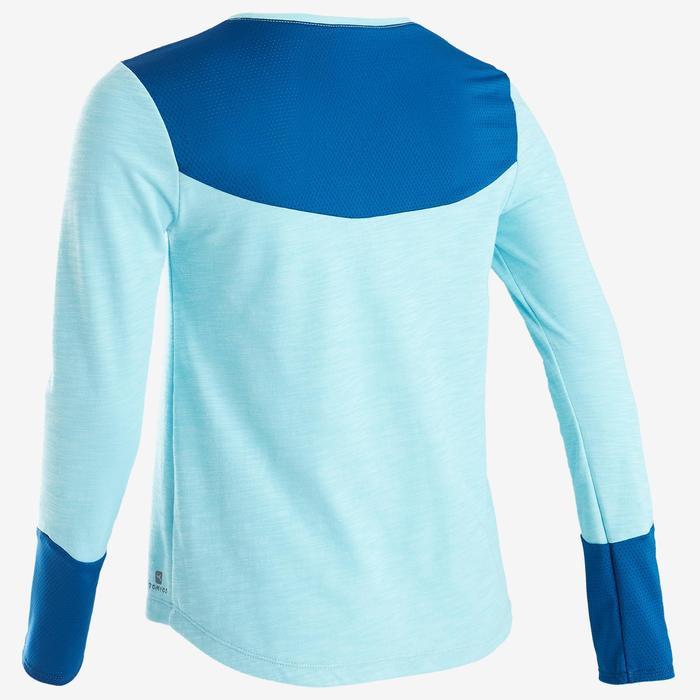 Langarmshirt atmungsaktive Baumwolle 500 GYM Kinder blau mit Print