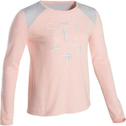 500 Girls' Breathable Cotton Long-Sleeved Gym T-Shirt - Pink Print