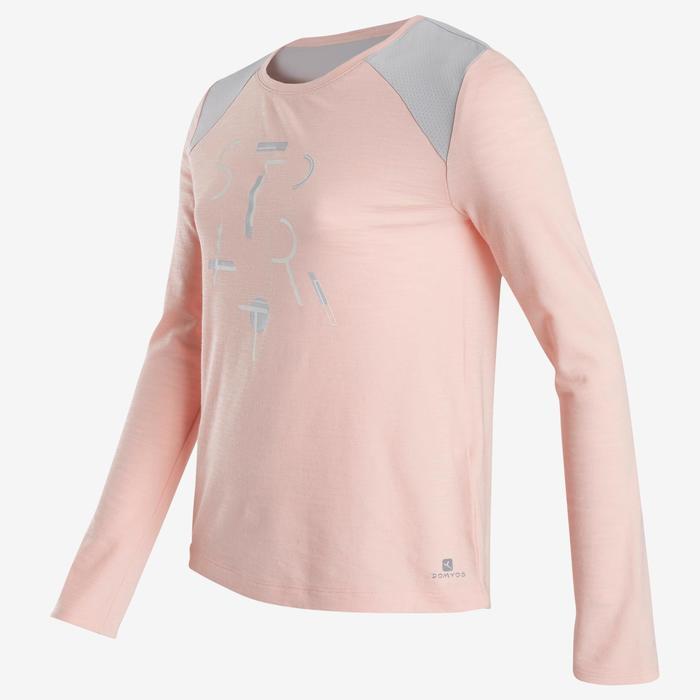 Langarmshirt Baumwolle atmungsaktiv 500 Gym Kinder rosa bedruckt
