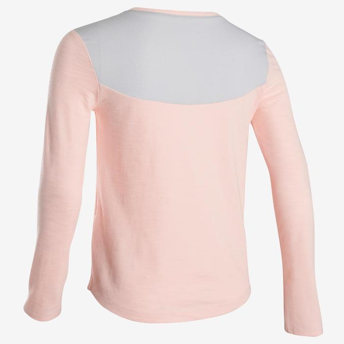 Gymshirt met lange mouwen in ademend katoen voor meisjes 500 roze met print