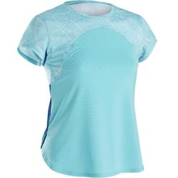 Camiseta Manga Corta Deportiva Gimnasia Domyos S900 Niña Azul