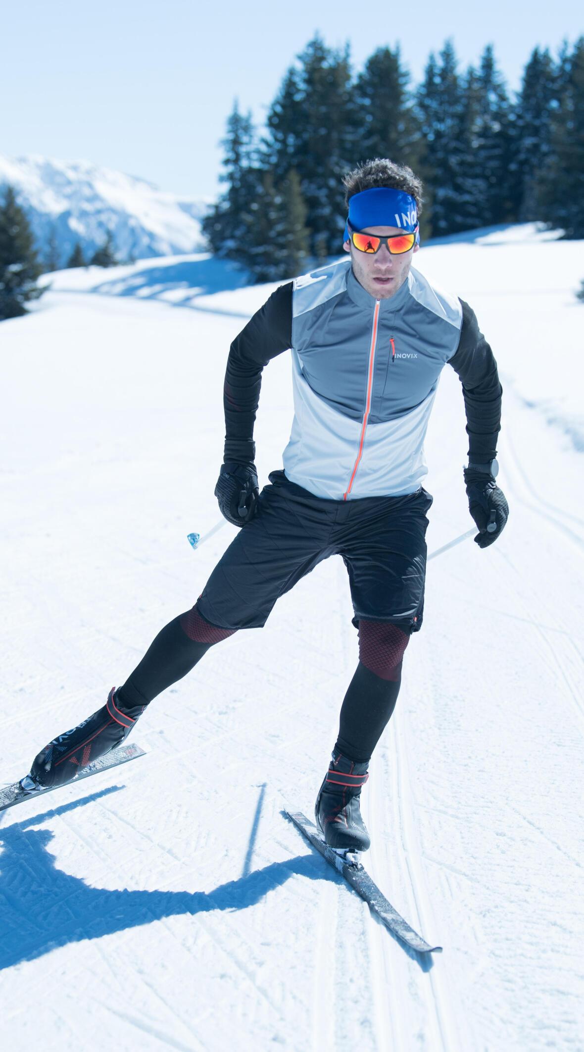 Man cross-country skiing race