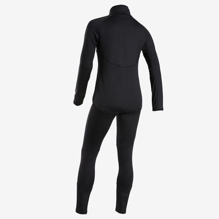 Warme en ademend synthetisch trainingspak voor meisjes, voor gym S500 zwart