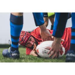 Rugby-Stutzenstrümpfe R500 hoch blau
