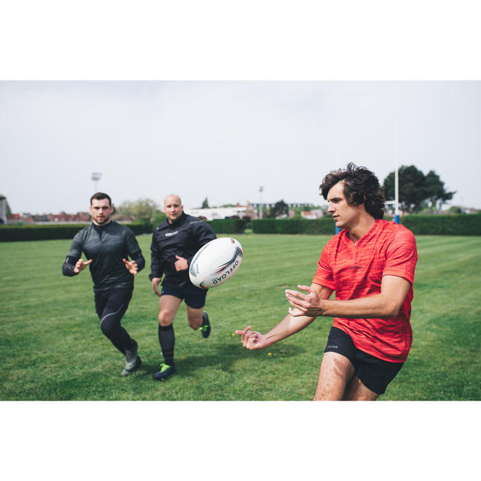 Rugbyshort voor heren R500 zwart