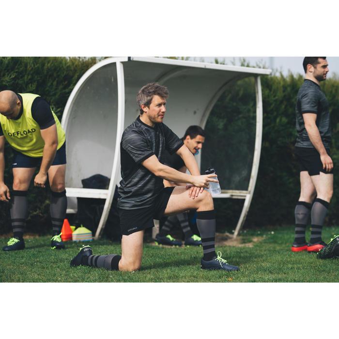 Rugby-Stutzenstrümpfe R500 hoch Erwachsene schwarz/grau
