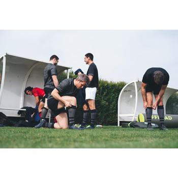 Hoge rugbysokken R500 zwart/grijs