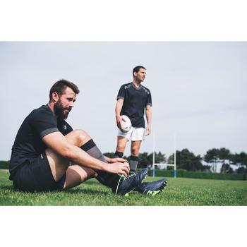 Chaussettes hautes de rugby R500 noire grise