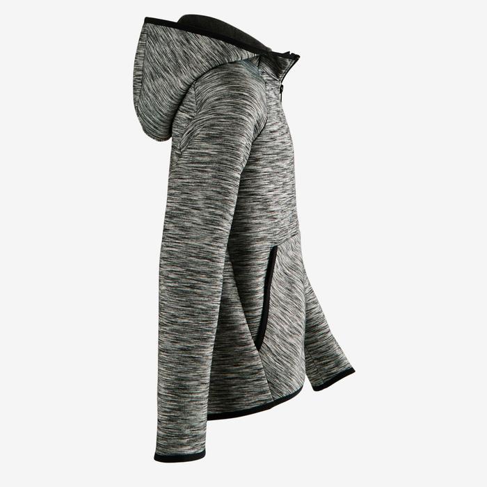 Kapuzenjacke warm Baumwolle atmungsaktiv 500 Gym Kinder grau