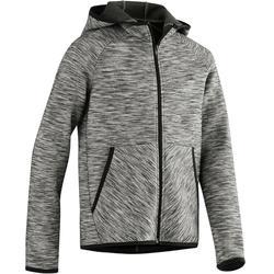 Veste capuche chaude, coton respirant, 500 garçon GYM ENFANT gris