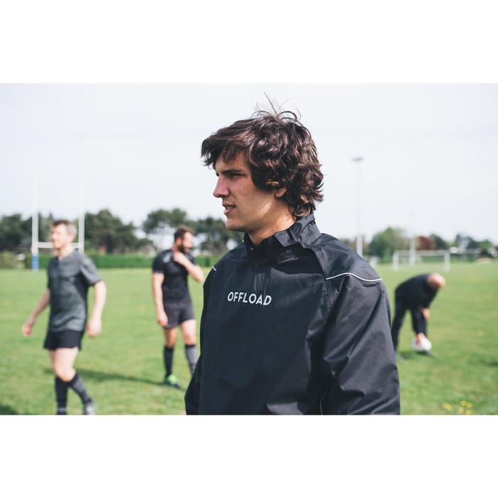 Winddicht regenjack voor rugby volwassenen Smocktop R500 zwart