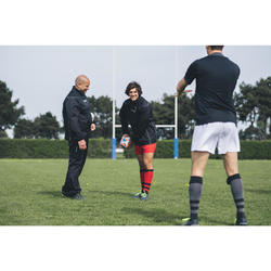 Stutzen Rugby R500 Herren rot/schwarz