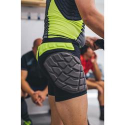 Sous short de protection rugby homme R500 noir jaune