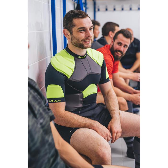Hombreras Rugby Offload R100 hombre negro y amarillo