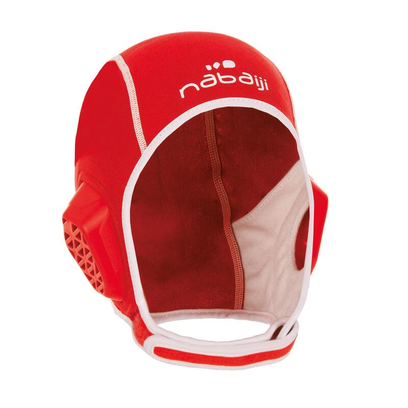 Bonnet water polo 500 junior easyplay à scratch rouge