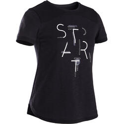Ademend gym T-shirt voor meisjes 500 katoen zwart met print
