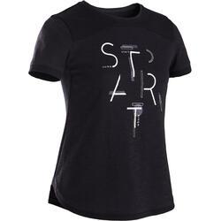T-Shirt manches courtes coton respirant 500 fille GYM ENFANT noir imprimé