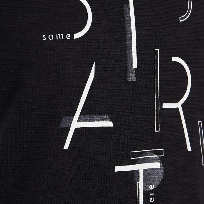 T-Shirt kurzarm atmungsaktive Baumwolle 500 GYM Kinder schwarz mit Print