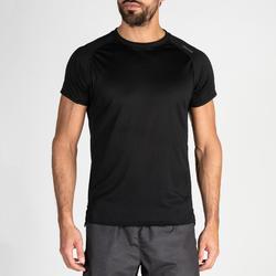 Camiseta de cardio fitness hombre FTS 120 negra lisa