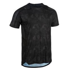 Camiseta fitness cardio-training hombre FTS 500 gris negro AOP.